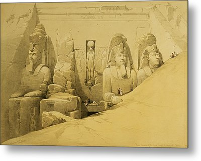 Front Elevation Of The Great Temple Of Aboo Simbel Metal Print by David Roberts