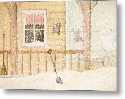Front Porch In Snow With Clothesline/ Digital Watercolor Metal Print by Sandra Cunningham
