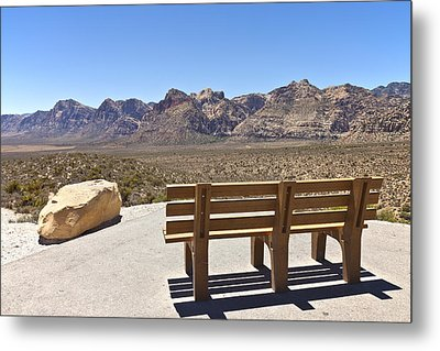 Front Row Seat Looking At The Landscape Red Rock Canyon Nevada. Metal Print by Gino Rigucci