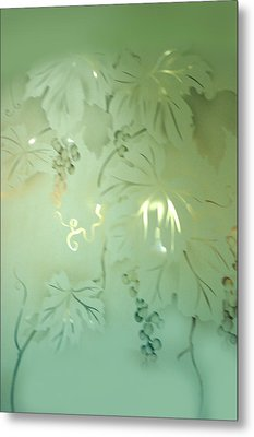 Frosted Green Grapes With Leaves Metal Print by Linda Phelps