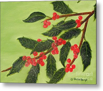 Frosty Holly Berries Metal Print by Shelia Kempf