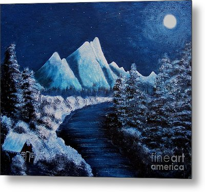 Frosty Night In The Mountains Metal Print by Barbara Griffin