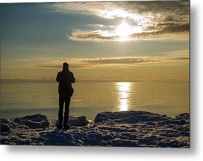 Frozen Beach At Sunset Metal Print by Samantha Morris