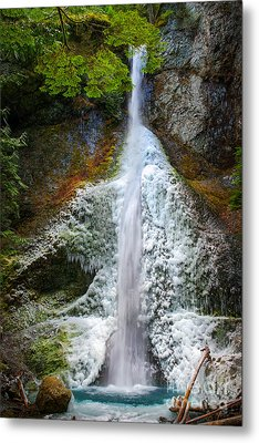 Frozen Marymere Falls Metal Print by Inge Johnsson
