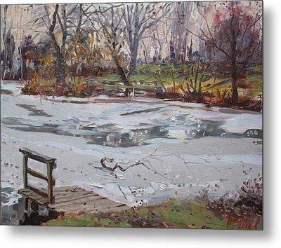 Frozen Pond Metal Print by Ylli Haruni