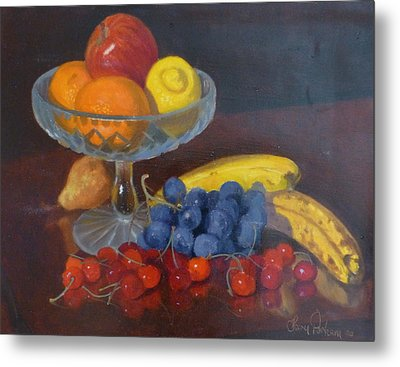 Fruit And Glass Metal Print by Terry Perham