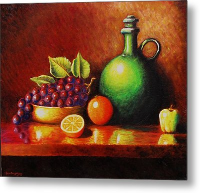 Fruit And Jug Metal Print by Gene Gregory
