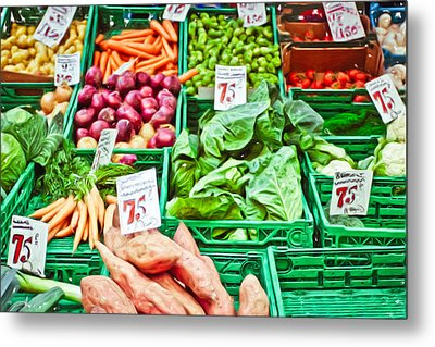 Fruit And Vegetable Stall Metal Print by Tom Gowanlock