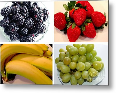 Fruit Collage Metal Print by Barbara Griffin