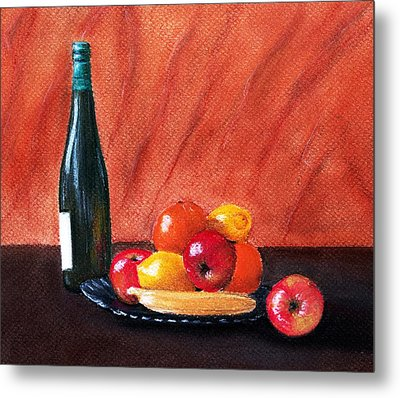 Fruits And Wine Metal Print by Anastasiya Malakhova