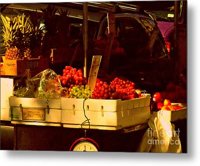 Fruitstand With Pineapples Metal Print by Miriam Danar