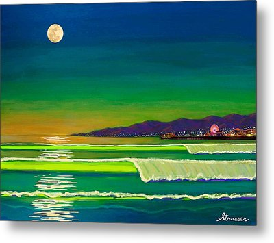 Full Moon On Venice Beach Metal Print by Frank Strasser