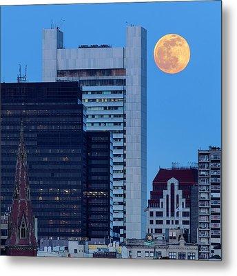 Full Moon Over Boston Metal Print by Babak Tafreshi