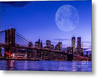 Full Moon Over Manhattan II Metal Print by Hannes Cmarits