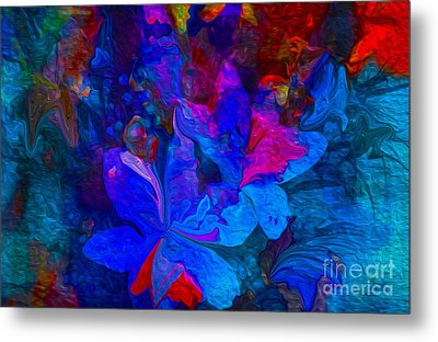 Fun Abstract Flowers In Blue Metal Print by Sherri  Of Palm Springs