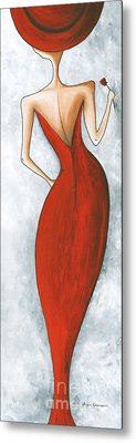 Fun Figurative Fashion Pop Art Lady In Red 2 By Megan Duncanson Metal Print by Megan Duncanson