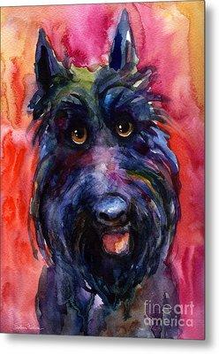 Funny Curious Scottish Terrier Dog Portrait Metal Print by Svetlana Novikova