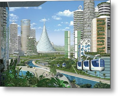 Futuristic Eco City, Conceptual Image Metal Print by Science Photo Library
