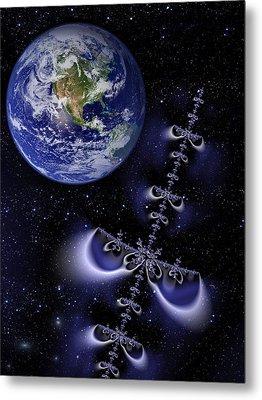 Galactic Alien Spaceship Visiting Earth Metal Print by Matthias Hauser