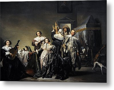Gallant Company, 1633, By Pieter Codde 1599-1678 Metal Print by Bridgeman Images