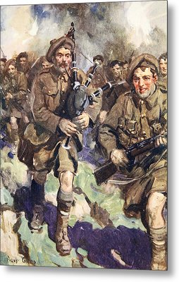 Gallant Piper Leading The Charge Metal Print by Cyrus Cuneo