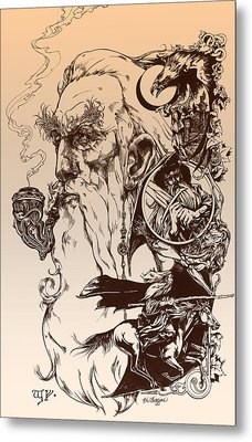 gandalf- Tolkien appreciation Metal Print by Derrick Higgins