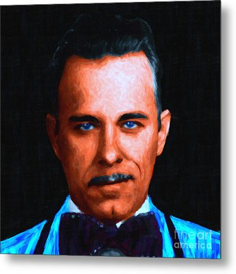 Gangman Style - John Dillinger 13225 - Black - Painterly Metal Print by Wingsdomain Art and Photography