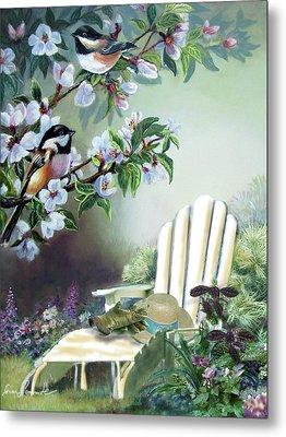 Chickadees In Blossom Tree Metal Print by Regina Femrite