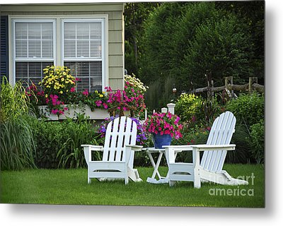 Garden With Lawn Chairs Metal Print by Elena Elisseeva
