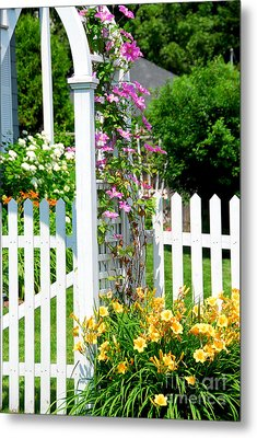 Garden With Picket Fence Metal Print by Elena Elisseeva