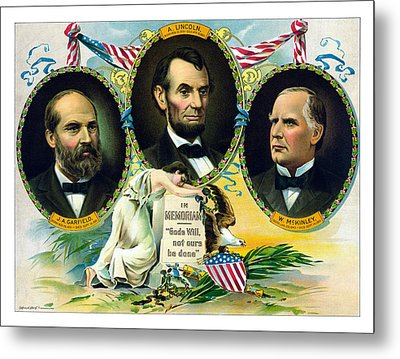 Garfield Lincoln And Mckinley In Memoriam Metal Print by War Is Hell Store