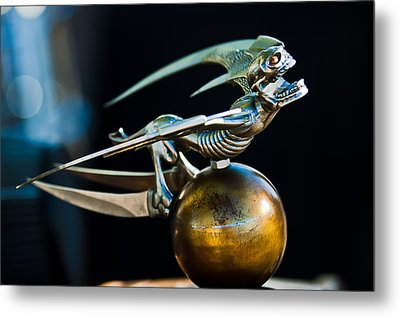 Gargoyle Hood Ornament Metal Print by Jill Reger