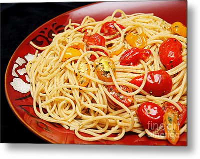 Garlic Pasta And Grape Tomatoes Metal Print by Andee Design