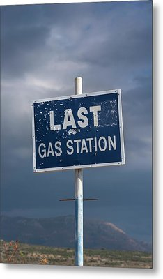 Gas Station Roadsign Metal Print by David Parker