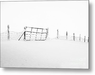 Gate In Snow Metal Print by Anne Gilbert