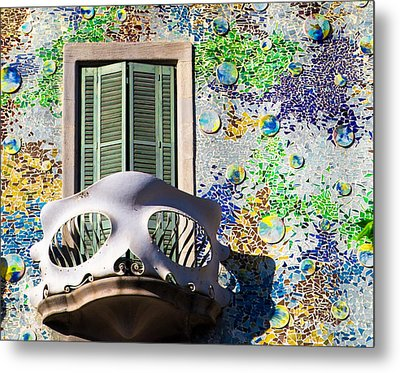 Gaudis Skull Balcony And Mosaic Walls Metal Print by Rene Triay Photography