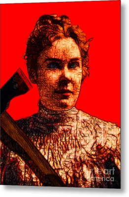 Gave Her Father Forty Whacks - Red Metal Print by Wingsdomain Art and Photography