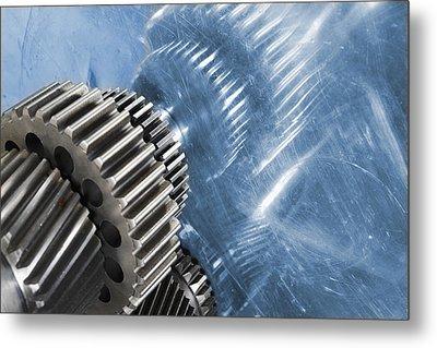 Gears Industrial Engineering In Blue Metal Print by Christian Lagereek