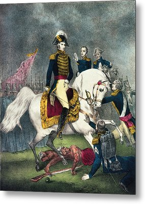 General William H. Harrison 1773-1841 At The Battle Of Tippecanoe, 1840 Colour Litho Metal Print by N. Currier