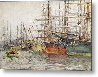 Genoa Harbour, 1904 Metal Print by Henry Scott Tuke