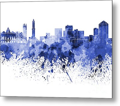 Genoa Skyline In Blue Watercolor On White Background Metal Print by Pablo Romero
