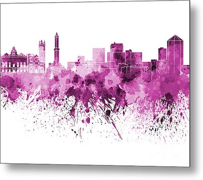 Genoa Skyline In Pink Watercolor On White Background Metal Print by Pablo Romero