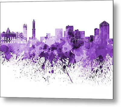 Genoa Skyline In Purple Watercolor On White Background Metal Print by Pablo Romero