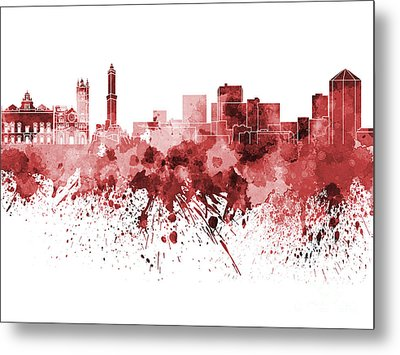 Genoa Skyline In Red Watercolor On White Background Metal Print by Pablo Romero