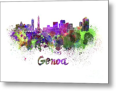 Genoa Skyline In Watercolor Metal Print by Pablo Romero