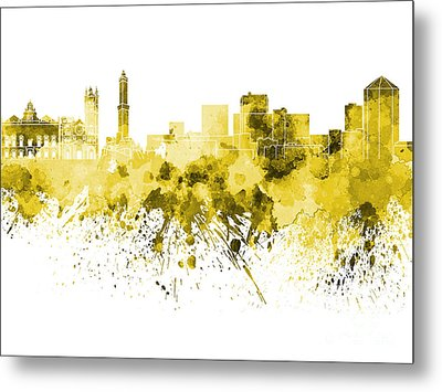 Genoa Skyline In Yellow Watercolor On White Background Metal Print by Pablo Romero