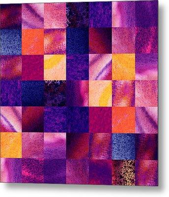Geometric Design Squares Pattern Abstract Iv Metal Print by Irina Sztukowski