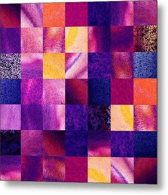 Geometric Design Squares Pattern Abstract V  Metal Print by Irina Sztukowski