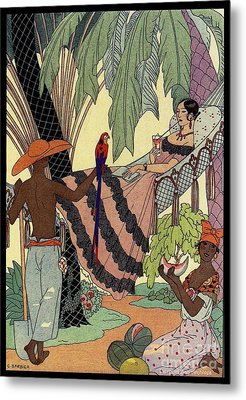 George Barbier. Spanish Lady In Hammoc With Parrot.  Metal Print by Pierpont Bay Archives