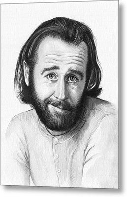 George Carlin Portrait Metal Print by Olga Shvartsur